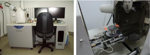 Fig.1 Ogólny widok mikroskopu Hitachi S3400N i sposób umieszczania próbek w komorze.
